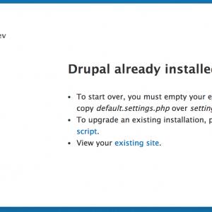 Drupal и ошибка Drupal already installed